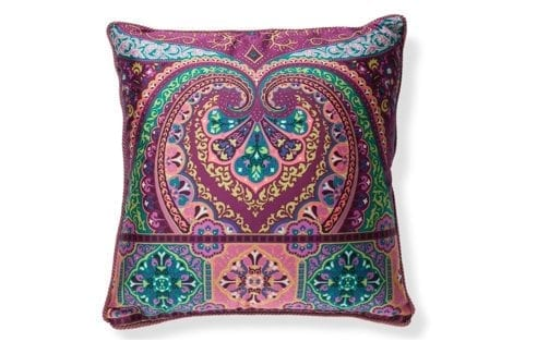 Sierkussen paisley multi colors met paarse piping