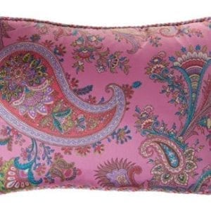 Lendekussen paisley roze met multicolor piping