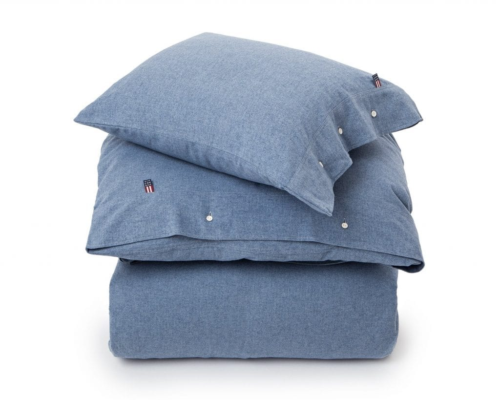 Lexington dekbedovertrek herringbone flannel duvet blauw